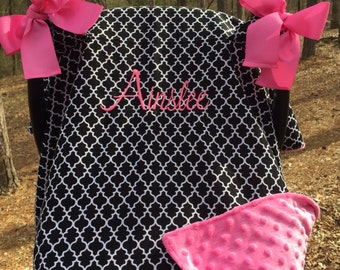 CHOOSE YOUR COLOR!! Monogrammed Car Seat Canopy, Carseat Cover, Car Seat Arm Cushion, Embroidered, Carseat canopy
