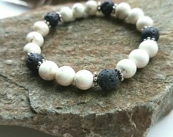 Lava Stone Howlite Essential Oil Diffuser Bracelet Aromatherapy Bracelet Healing Bracelet Anti Anxiety Bracelet