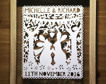 Personalised Wedding Gift, Wedding Gift, Wedding Present, Unique  Wedding Gift, Wedding Bunnies Paper Cut, Couples Gift, Anniversary Gift