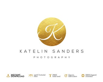 Photography Logo Design Photography. DIY Logo Psd Template. Gold. Premade Logo. INSTANT DOWNLOAD Logo Design. Premium Logo Design.