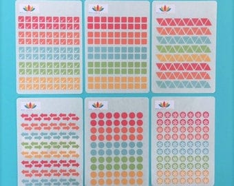 S002 - Bullet Journal & Planner Stickers ~ Set of 6 Mini Sheets ~ Total 512 Stickers ~ in Decorative Pocket