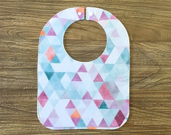 Feeding Bib, Baby Bib - Watercolour Triangles