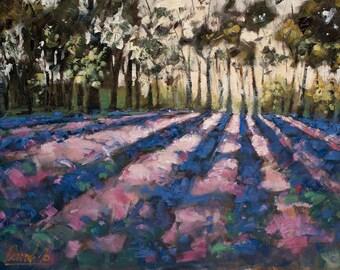 Purple Field - landscape, oil, painting, fine Art