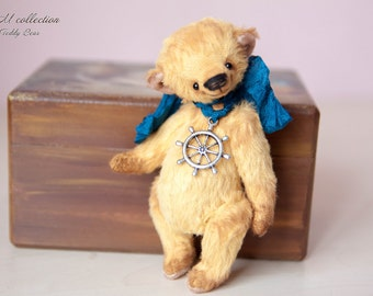 "Father Day Teddy Bear style Artist German viscose "" Boatswain"" 4,7 inch handmade OOAK collectible jointed Teddy Bear toy"