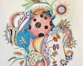 Zentangle ladybug,insect art,ladybug art,zentangle art,colored insect,colored ladybug, ink colored pencils,wall art,wall decor.