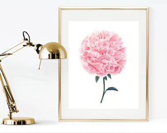 Watercolor peony print, printable watercolor painting, watercolor flowers, Mother's day gift idea, shabby chic home decor, instant peony art