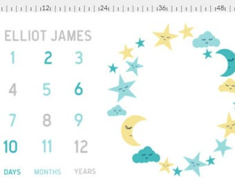 Personalized Yellow Blue Gray Moon & Stars Milestone Baby Blanket, Newborn Photograph,  Baby Shower Gift, Nursery Blanket, Gender Neutral