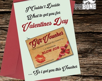 No20 VALENTINES DAY Card with cut out Voucher Adult Boyfriend HUMOUR Funny Rude Humorous Greetings Card By Close to the Bone