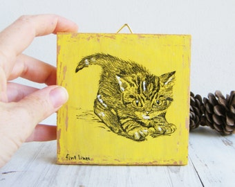 Miniature painting - cute kitten print on wood, Cat wall art print, Kids room decor, Wood wall sign, Christmas gifts