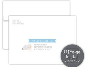 Little Lamb Printable A7 Envelope Template --- Instant Download --- Printable --- Blue --- B501-IE2-D