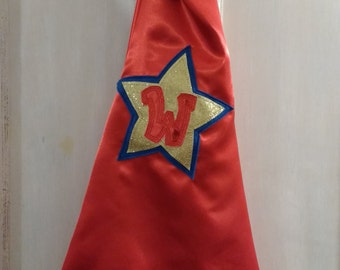 Personalised - Satin - Cape - Fancy Dress - Dress up - Boys Fancy Dress - Hero Cape - Princess Cape -  Red and Blue