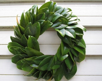 "Green Magnolia Leaf Wreath 16"" Size Fresh to Dry for Decorating, Natural Floral Wedding, Craft or Home Decorating, Holiday, Christmas"
