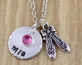 Personalized Ballerina Shoes Charm Necklace, Ballerina Gift, Ballet Necklace, Ballet Dancer Gift | Ballerina Jewelry, Recital Gift SRA 7870-