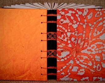 Orange Batik Fabric/Black & White Page Blank Journal