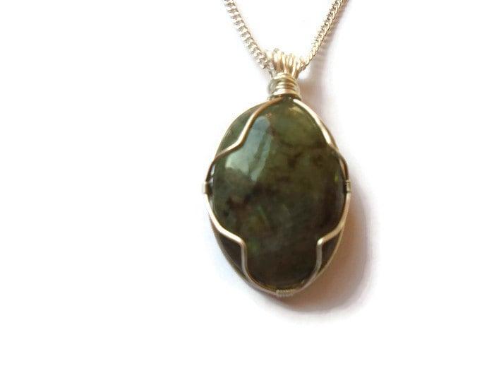 Labradorite Necklace, Wire Wrapped Gemstone Necklace,Wire Wrap ...