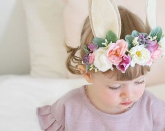 Bunny Flower Crown, Photo Prop, Baby Tieback Bunny Crown, Baby Flower Crown, Newborn Headband, Girls Flower Crown, Eater Bunny