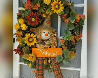 Fall Scarecrow Wreath, Autumn Fall Wreath, Harvest Wreath, Thanksgiving Floral Wreath, Rustic Grapevine, Welcome Wreath, Thanksgiving Decor