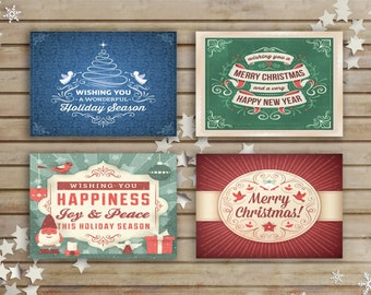 Christmas card set, Set of 4 Christmas cards, Christmas card set, Merry Christmas, Holiday cards, Xmas card, Holiday card set, BD-1058