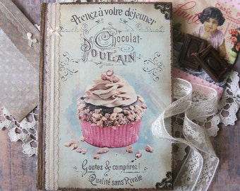 Blank recipe book with muffin cover, shabby chic recipe book, vintage recipe book, recipe organizer, rezeptbuch, vintage kitchen