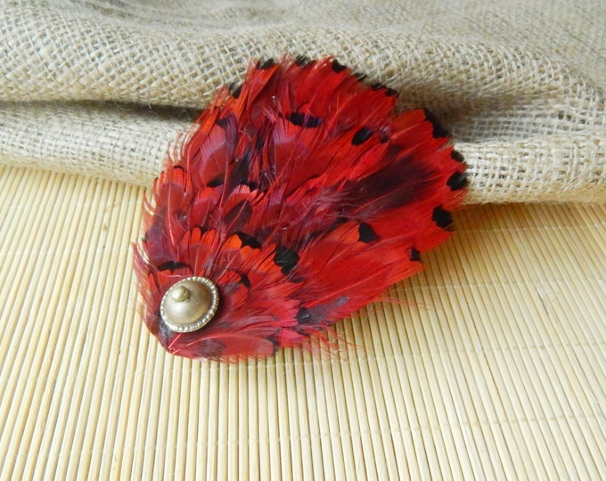 Feather barrette, large hair clip, boho accessories, red vine tribal accessories, kuchi buttons hair piece, boho women hair accessories