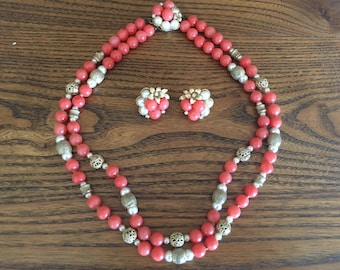 Vintage Coral and Faux Pearl with Gold Toned Metal Beaded Necklace and Earring Set 1022
