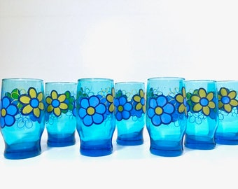 Libbey Retro Blue Flower Power Glasses (Set of 7)