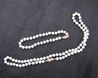 Freshwater pearl with 10k clasp necklace and bracelet set
