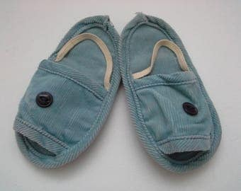 Vintage Baby Slippers, Toddler Slippers, Blue Childs Slippers, Soft Toddler Shoes, Baby Boy Shoes, Blue Baby Shoes, Blue Toddler Shoes