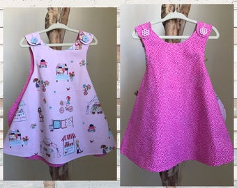 FARMER'S MARKET dress in Pink- Retro REVERSIBLE toddler pinafore- 12-24 months