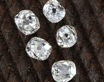 Diamonds old mine cut antique vintage loose | 5 old mine cut diamonds = .73 ct total | J   K  L | Si1 Si2 | circa 1800's or before