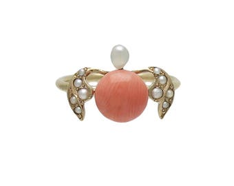 Victorian 14K Gold Coral Cultured Seed Pearl Ring (Stick Pin Conversion)