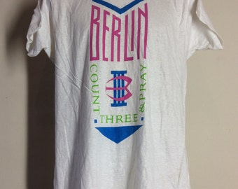 Vtg 1986 Berlin Take My Breath Away T-Shirt White M/L 80s New Wave Synthpop Rock Band