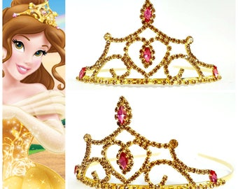 PRINCESS BELLE CROWN ,The Beauty And The Beast Belle Crown, Princess Belle Tiara ,Belle Cosplay Costume Halloween, Belle Rhinestone Tiara