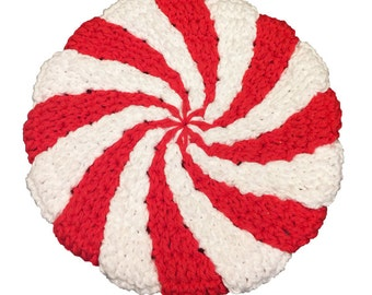 Christmas Peppermint Hot Pad, Christmas Potholder, Holiday Hotpad, Crochet Pot Holder, Red & White Hot Pad