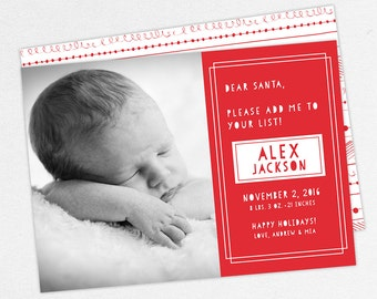 24 HOUR TURNAROUND, Holiday Birth Announcement, Christmas Birth Announcement, First Christmas, Dear Santa, Baby Announcement, Printable, DIY