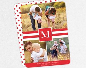 Holiday Card, Christmas Card, Family Card, Photo Card, Happy Holidays, Printable, Printed, Stripes, Modern, Monogram