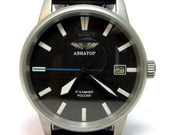 POLJOT AVIATOR Military Vintage Soviet Russian mechanical wristwatch 18 jewels