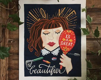 Love is a Great Beautifier Giclee Gouache Print
