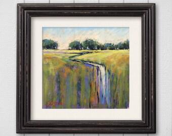 """Original Pastel Painting """"Small Stream"""""""