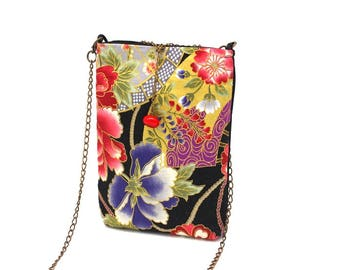 Small bag made of black Japanese fabric patterned with red and blue peonies