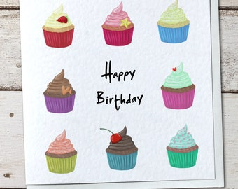 Cute Cupcakes Greetings Card - Birthday, Thank You, etc.