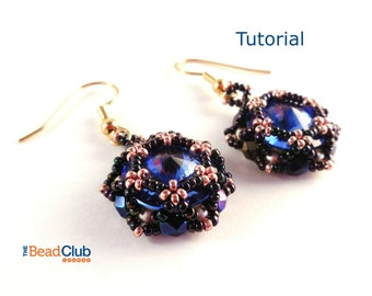 Beaded Earring Tutorials - Rivoli Tutorial - Beading Patterns and Tutorials - Beadweaving Tutorials - Beadwork - PDF - Rosette Earrings