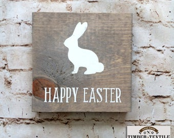 """Happy Easter Sign, Wood Easter Sign, Easter Bunny Sign, Rustic Easter Sign, 5.5"""" x 5.5"""""""