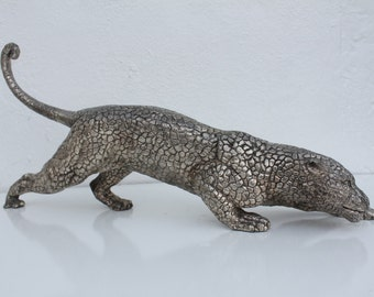 Vintage Solid Bronze Panther Table Sculpture .