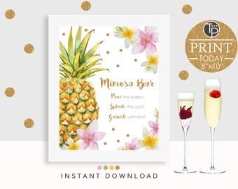 MIMOSA BAR SIGN, Instant Download, Mimosa Bar Printable, Bridal Shower Sign, Mimosa Sign, Bar Sign, Pineapple Mimosa Bar Sign, Pineapple