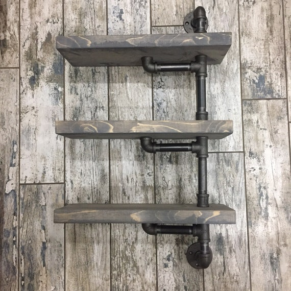 Rustic Grey Washed Industrial Iron Pipe Amp Wood Shelf
