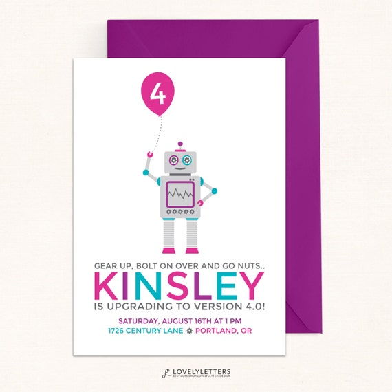 Girl robot birthday invitations pink robot invitation digital il570xn filmwisefo Images