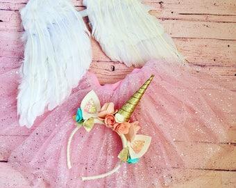 Unicorn Headband, Wings, and Tutu Accessories Set