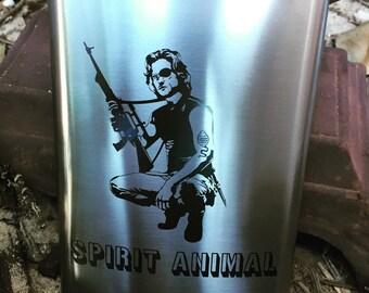the real mans spirit animal custom laser marked flask