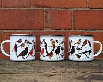 Enamel Mug; Garden Bird illustrations by Alice Draws The line; a camping, hiking, walking, countryside tin cup to accompany your flask!